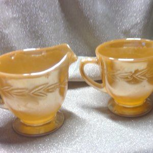 1930s Fire King Sheaves of Wheat Peach Lustre Set